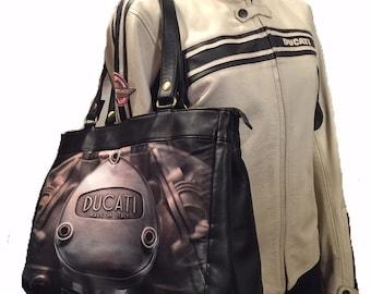 "Leather Satchel Tote Ducati ""Desmo"" (Large)"