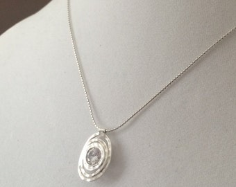 Sterling Silver Necklace And 3ct Cubic Zirconia Pendant 16""