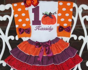 4 pc. Fall Pumpkin Birthday Outfit! Pumpkin First Birthday Outfit/Pumpkin Birthday/Fall Birthday Outfit/Thanksgiving Birthday Outfit/Pumpkin