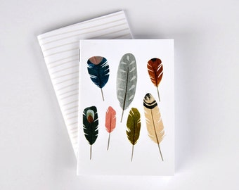 "Feather Pocket Notebook Set, set of 2, 3.5"" x 5"", 48 lined or blank pages, journal, jotter, gift"