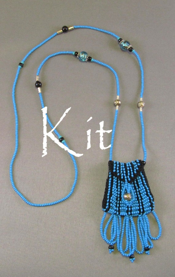 Knitting Jewelry Kits : Brigitte kit a beaded knit necklace purse turquoise by