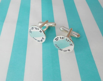 Engraved Coordinate Cuff links,Silver Latitude Longitude Wedding Cufflinks,Coordinates Cufflinks for Groom,Personalized Wedding Cufflinks