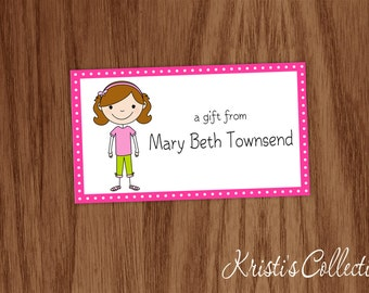 Girls Calling Cards Stickers Gift Tags Inserts Enclosure Cards - Personalized Kids Personal Business Cards - Gift Enclosures - Stick Figure
