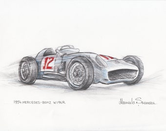 Classic Car Painting, 1954 Mercedes Benz W196 Art, Vintage Car, Classic Automobile Drawing,  Car Wall Art, Classic Car Office Decor