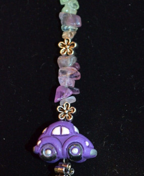 Sun Catcher VW Beetle, Daisies with Multi Fluorite Chips & Purple Polymer Clay Bug Charm