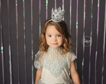 Lace Princess Crown, Baby Crown, Gold Crown, Child's Crown, Mini Crown, Lace Crown, Silver Crown, Baby Headband, Crown Headband