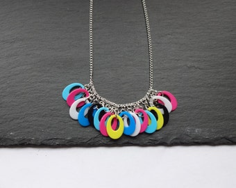 SALE Multi Coloured Necklace, Statement Necklace, Silver Plated Chain