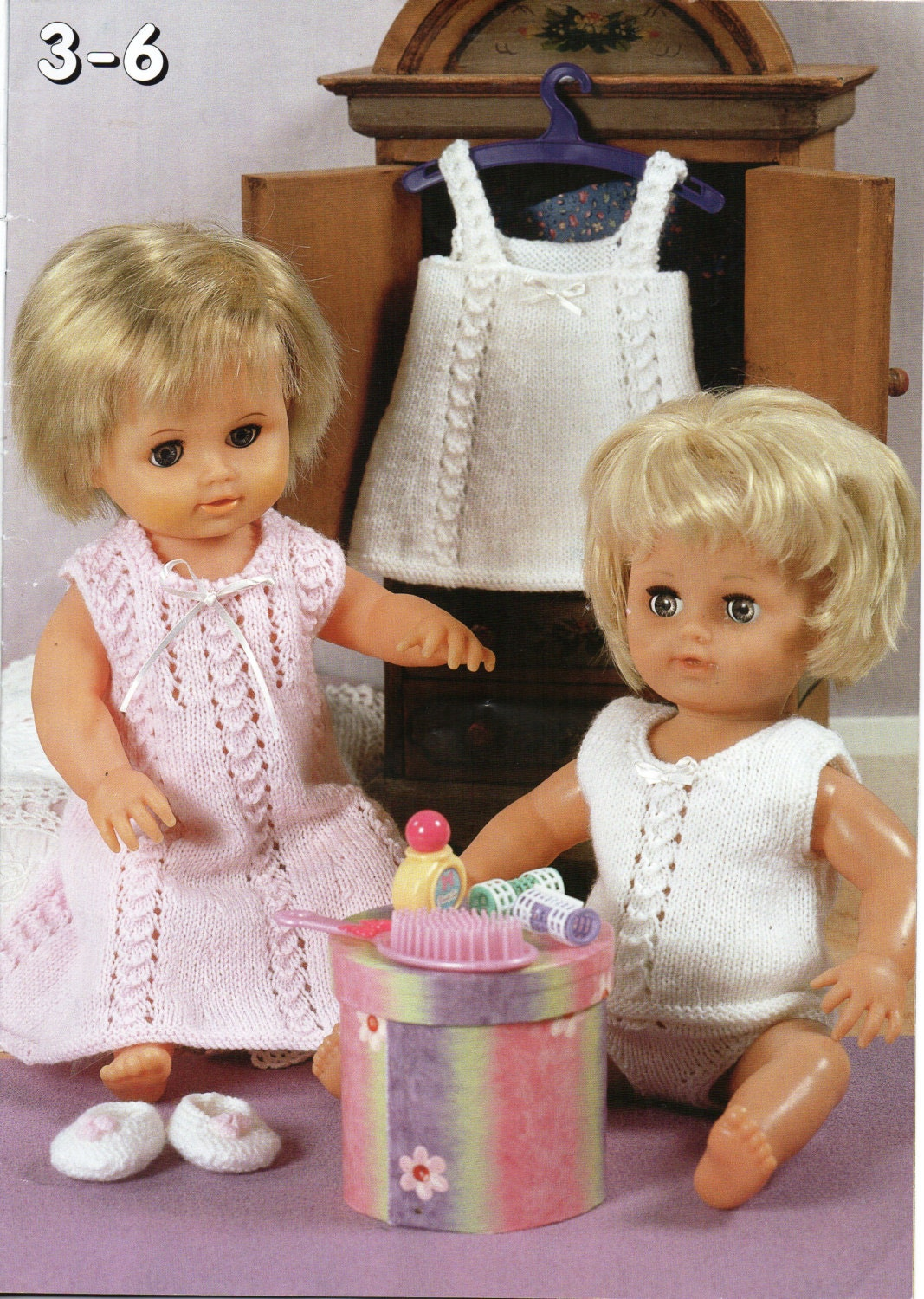 baby dolls clothes knitting pattern dolls nightie vest pants