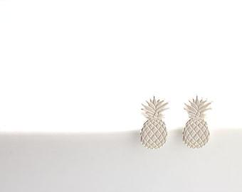 Pineapple Stud Earrings - Sterling Silver Pineapple earrings, Summer Jewelry