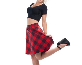 Check Me Out Flirt Skirt, Bright Printed Red Buffalo Check Plaid Pattern Flared Spandex Skirt