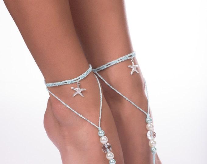 Aqua Blue barefoot sandals/Starfish Barefoot Sandals/Nautical Wedding/Crochet sandals/Beach wedding/Starfish anklet/barefoot sandals/boho