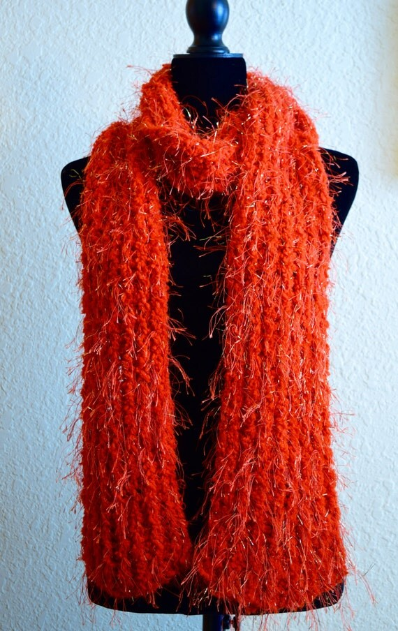Easy Knitting Patterns Eyelash Yarn Scarf : womens knit scarf made with eyelash yarn great by Echarpeknit