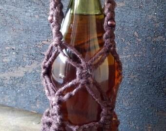 Macramé Hemp Beaded  s o f t  OOAK Bottle Carrier
