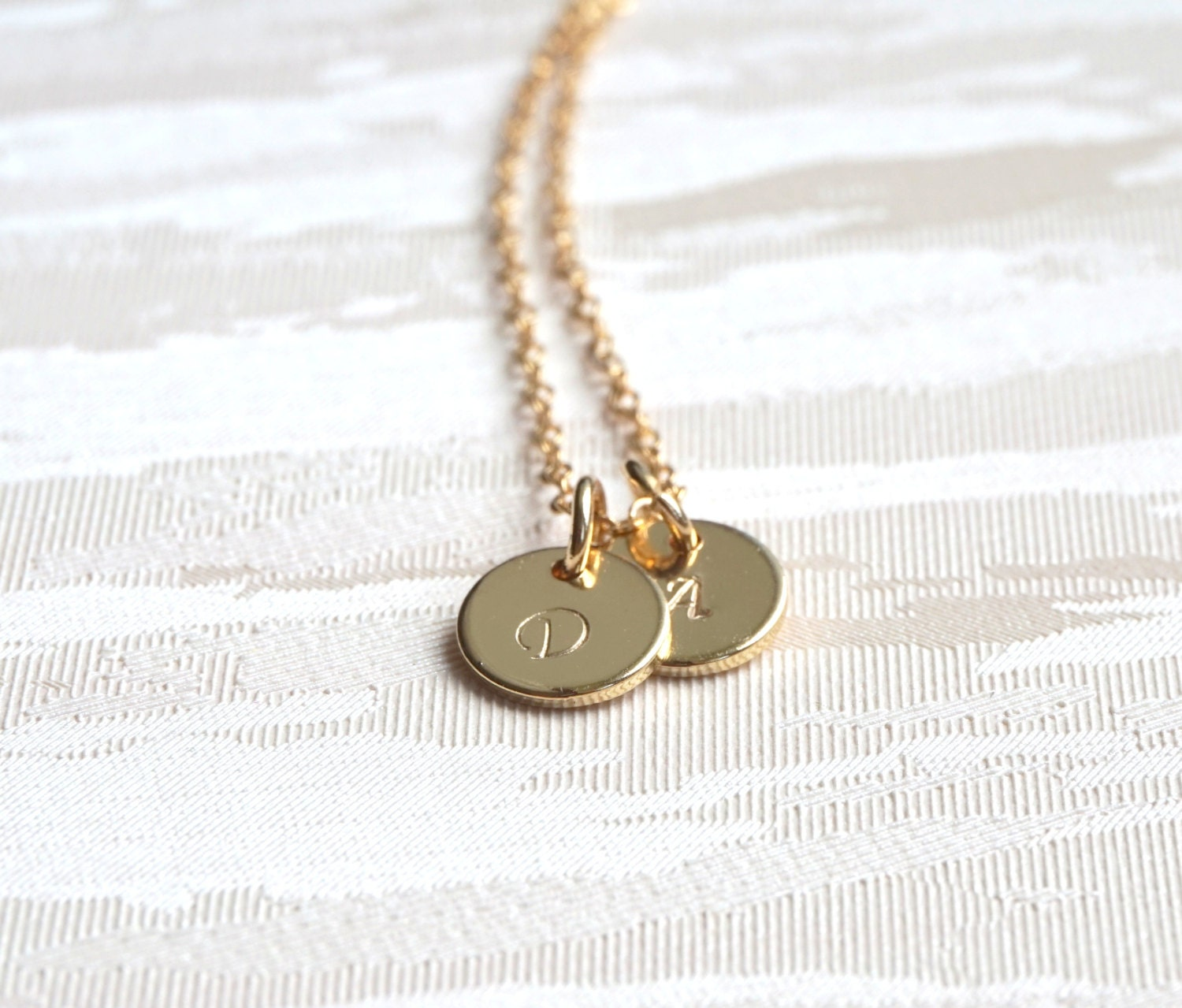 gold necklace two stamped disc necklace initial necklace. Black Bedroom Furniture Sets. Home Design Ideas