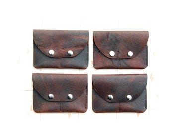 Two Slot Leather Wallet - Leather Card Case - Brown Leather - Small Leather Wallet - Distressed Leather Pull-Up Snap Wallet