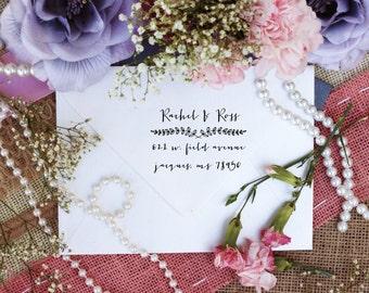 Custom Return Address Self Inking Stamp, Cute Stamp for Newly Weds, Leaf Border, Fancy Font --3275