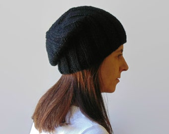 Black Wool Hand Knit Beanie, Winter Hat, Chunky Knit Slouchy, Mens, Chunky Wool, Ready to Ship, Chunky Knit Beanie, Knitted Hat, Wool Beanie