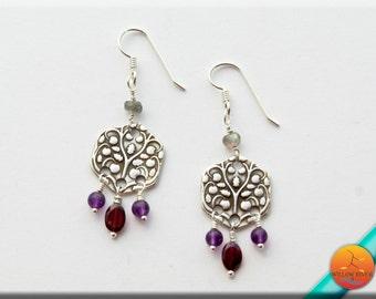 Women's Silver Dangle Earrings, Fine Silver and mixed stone Women's Earrings, Amethyst Garnet Labradorite, Sterling Earring Wire