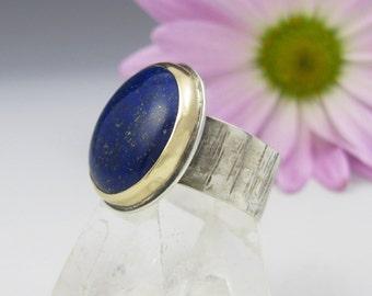 Lapis Lazuli Ring - sterling silver and 14K gold lapis ring - US size 9 - round mixed metal lapis lazuli ring - rustic lapis ring