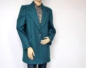 Vintage Coat Women's  Pea Jacket Style 1980s Wool Coat Jacket Fall Winter Car Coat Teal Peacock Blue Size 10
