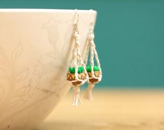 Hanging Planter Macrame Earrings - miniature succulent, wearable planter, small cactus, sterling silver earrings, mini plant pots