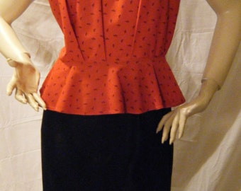 Vtg 1980s Red and Black Peplum dress by T Juniors Medium