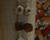 dalmatian jasper, brown earring, bronzite earring, Gemstone earring, dangle earring,  Long Slim earring, boho earring, gift for women