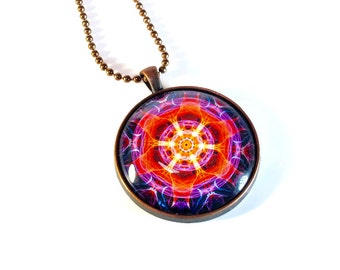 Sacred Geometry Kaleidoscope Necklace Pendant, Purple Orange, LARGE