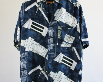 Sale - Vintage Silk Architecture Print Casual Dress Shirt - Mens Size Small