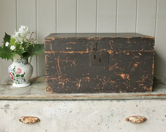 Antique Pine Box Trunk in Old Black Paint