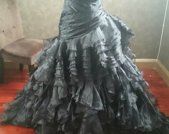 Black Wedding Dress with Gorgeous Organza Pleating and Ruffles Sweetheart Neckline Gothic Wedding