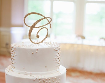 Letter Cake Topper Monogram in Glitter - Custom Letter Cake Topper for Party or Event Wedding Cake, Engagement, Shower, Etc. (Item - CTL900)