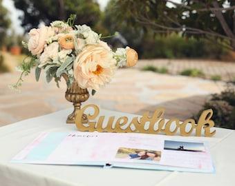 "Wedding Guestbook Sign - Freestanding ""Guestbook"" - Wooden Wedding Sign for Reception Decor (Item - TGU100)"