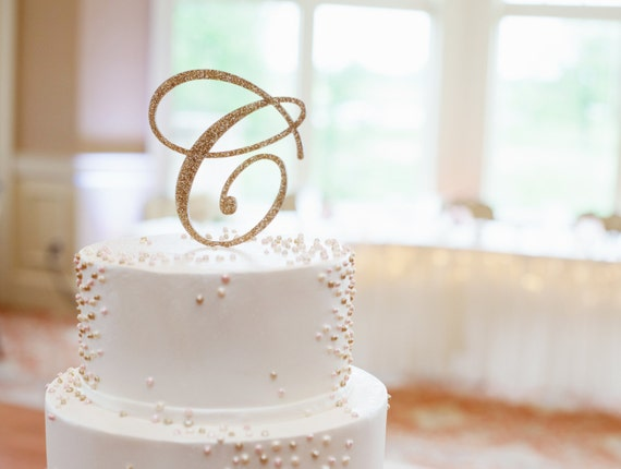 letter c wedding cake topper wedding cake topper letter monogram in glitter gold or custom 16832
