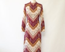 Vintage 60's / 70's Tapestry Knit Sweater Dress / Mock Turtleneck Fitted Mid Length Arts and Crafts Dress