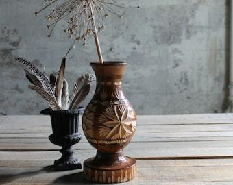 Vintage Wooden Handcarved Vase