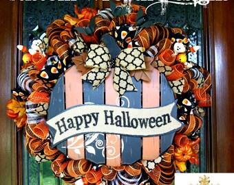 Black and Orange Happy Halloween Wreath
