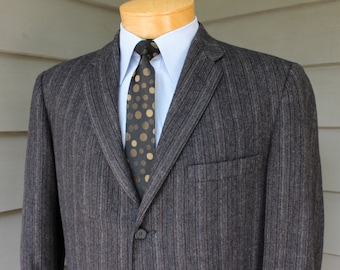vintage 1960's -Michaels-Stern - Rochester(NY)- Men's narrow lapel Sport coat. Flannel -  Mod stripes. 3 button Darted front. Size 42 Long