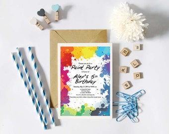 Instant Download - Paint / Art Party - Paint Splatter - Birthday, Shower, Party Invitation, Custom Printable