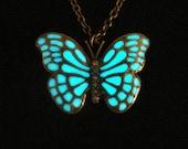 Pink Blue Purple Butterfly Necklace Glow In The Dark Butterfly Necklace Butterfly Jewelry Antique Bronze (glows aqua blue)