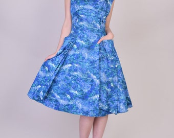 Vintage 1950s Dress in Floral Print by Phyllis Taylor