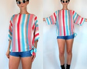 Vintage 70s Sheer Stripe Kimono Sleeve Avant Garde Tunic. Turquoise Blue + Coral oversized Boho mini dress Top shirt. extra Small - Small