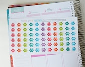 Pet Stickers, Set of 66 Paw Print Stickers, Dog Stickers, Cat Stickers, Erin Condren Planner Stickers, Happy Planner