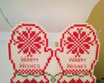 New Warm Wishes Holiday Mitten Christmas Cross Stitch Ornament