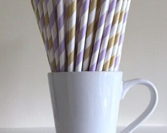 Purple and Gold Paper Straws Lavender Lilac Light Gold Striped Party Supplies Party Decor Bar Cart Cake Pop Sticks  Graduation