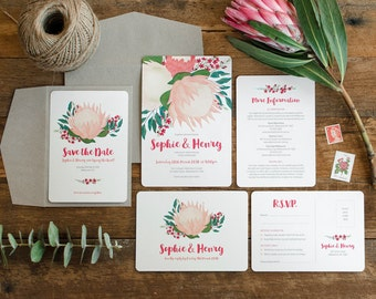 Wedding Stationery Suite Sample  | Custom Invitations  |  Native Protea Design