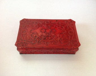 Trinket Box, Red Trinket Box, Man Cave Decor, Keepsake Box, Distressed Metal