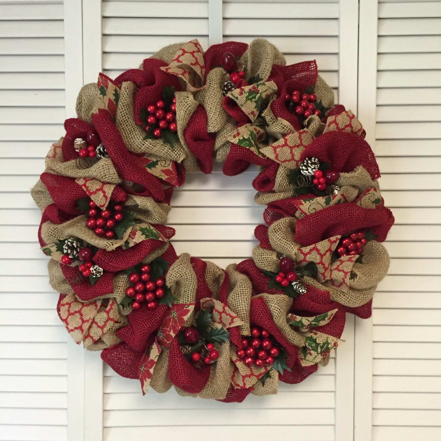 Large red christmas wreath burlap christmas wreath christmas for How to make christmas door wreaths