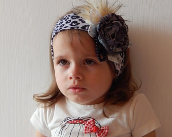 Headban baby girl.Fox fur headband. Fashion for Kids.Photo prop