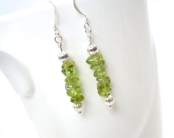 Peridot earrings with silver beads on sterling silver wires peridot chip earring dangle drop earring green earrings peridot jewelry